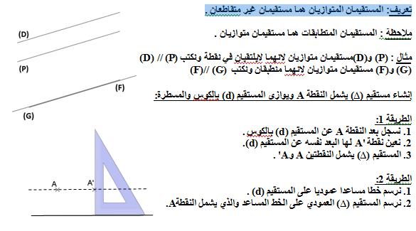 تحضير درس توازي مستقيمين في مادة الرياصيات السنة الاولى متوسط