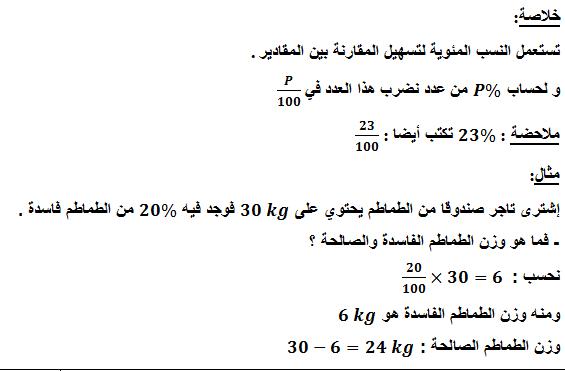 تحضير درس النسب المئوية في مادة الرياضيات السنة الاولى متوسط